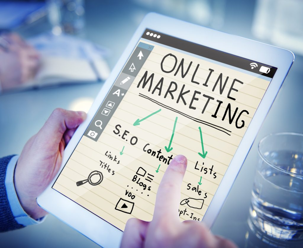 online marketing chart on a tab